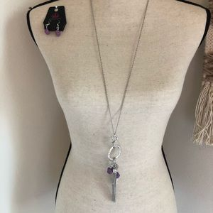 Long silver necklace w/ purple & earring set